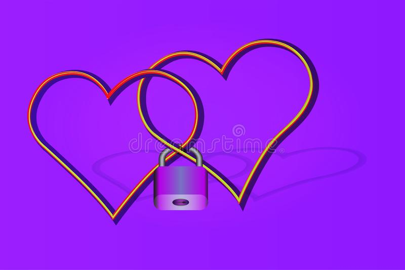 与横渡的等高的两心脏在紫罗兰色梯度背景的一把取决于的锁 库存例证