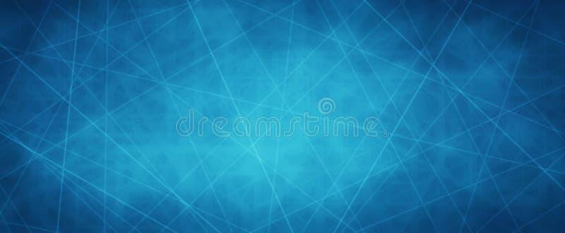 与横穿空白线路或激光束网络概念的蓝色背景与黑暗的边界和纹理 向量例证