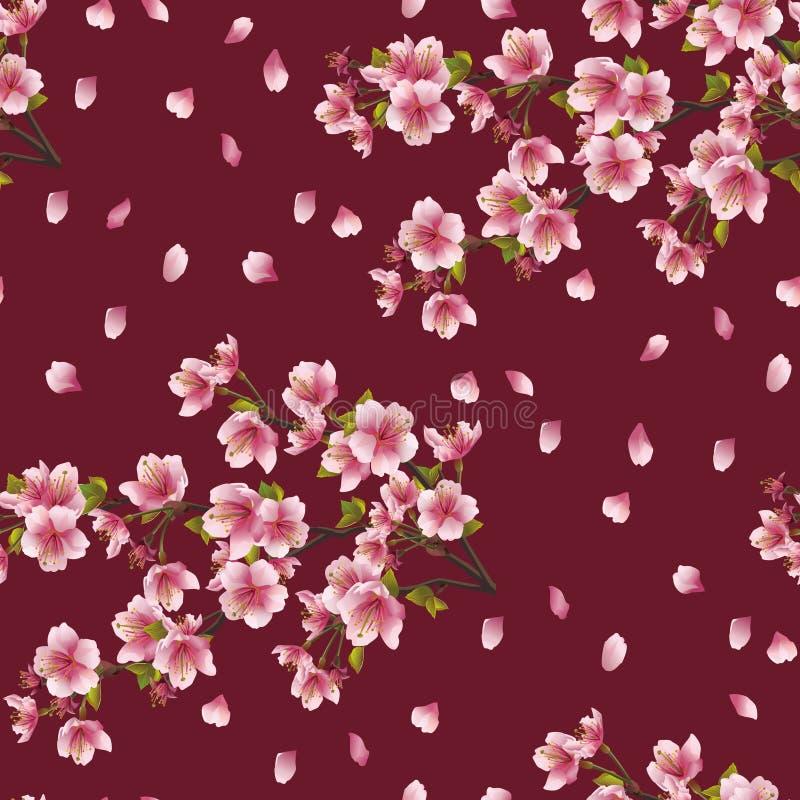 与樱桃分支的无缝的背景纹理   皇族释放例证