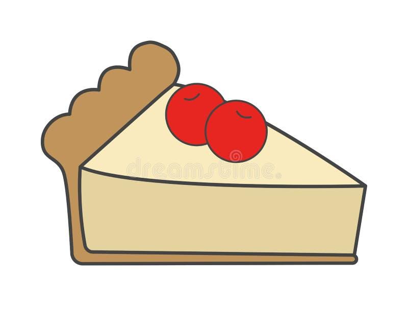 与樱桃平的传染媒介象的甜蛋糕 库存例证