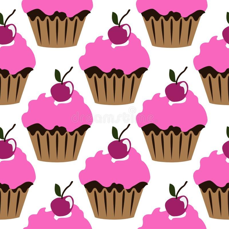 与樱桃无缝的样式的桃红色奶油色杯形蛋糕 向量例证