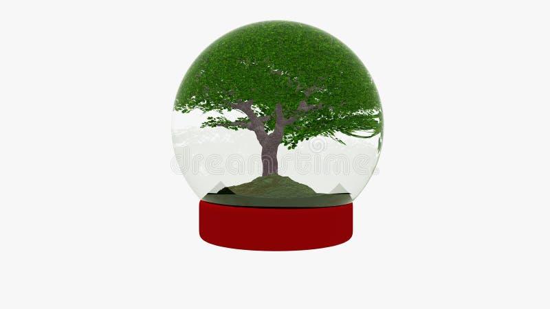 与樱桃树,生态概念的Snowglobe 库存照片