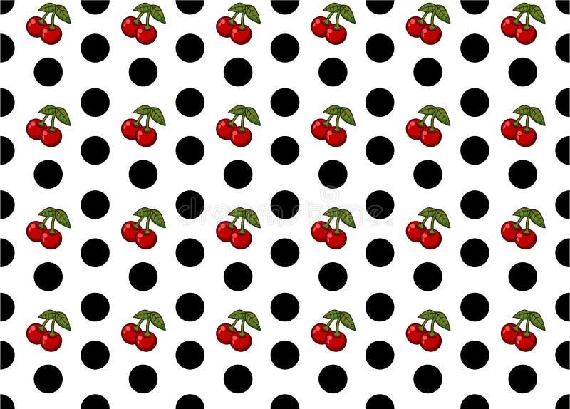 与樱桃样式传染媒介艺术的无缝的圆点 免版税库存图片