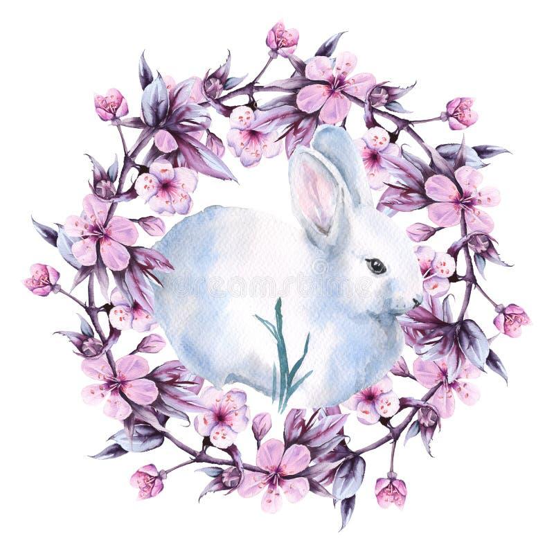 与樱桃花圈的复活节兔子  背景查出的白色 额嘴装饰飞行例证图象其纸部分燕子水彩 皇族释放例证