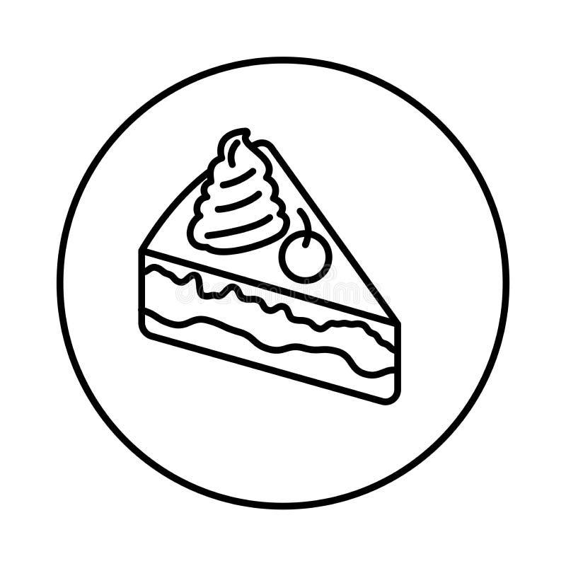 与樱桃象的蛋糕在圈子线 库存例证