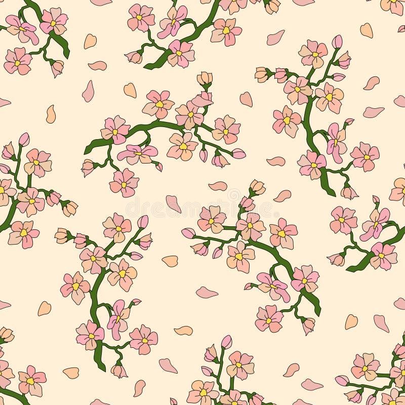 与樱花分支的无缝的样式  向量例证