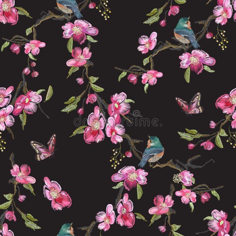 与樱花开花的刺绣花卉无缝的样式 库存例证