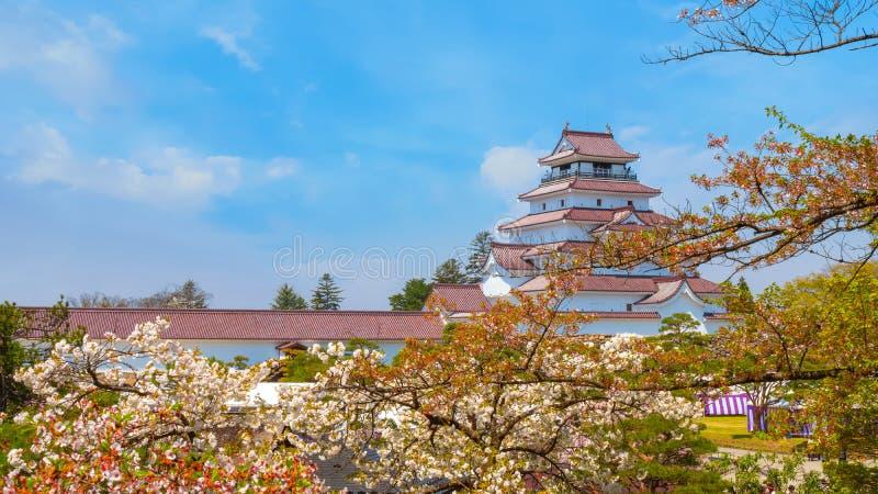 与樱花的会津若松市城堡在福岛,日本 库存照片