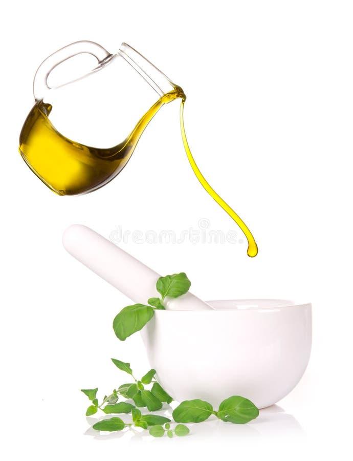 与橄榄油的灰浆 库存照片
