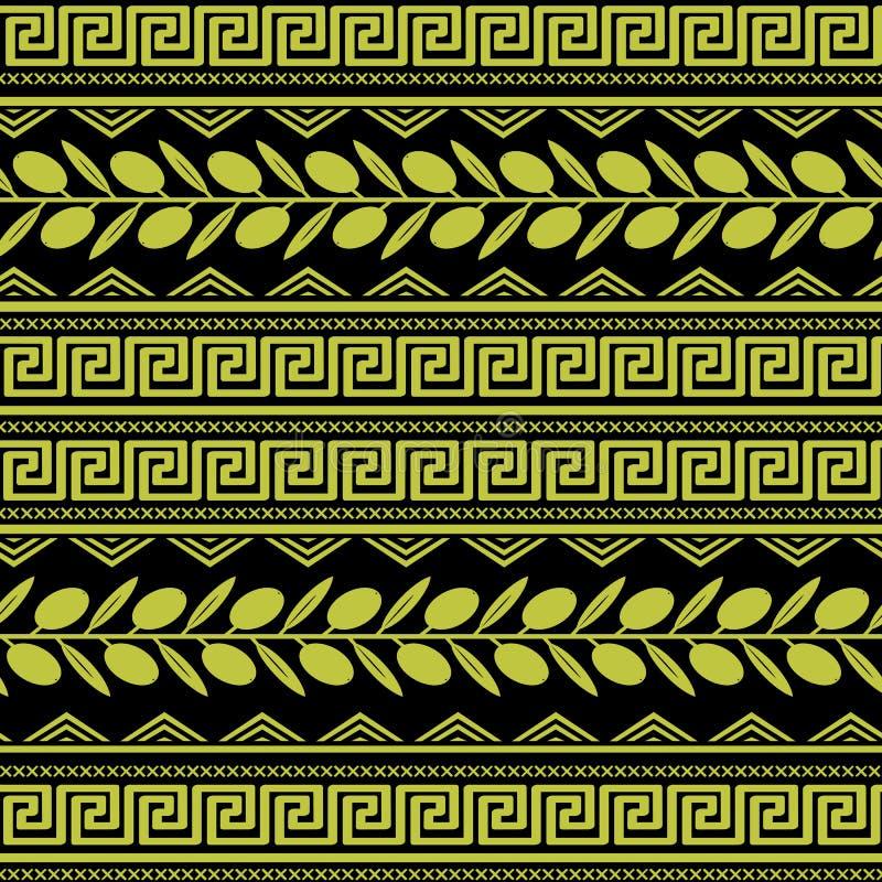 与橄榄色的装饰品的无缝的样式 库存例证