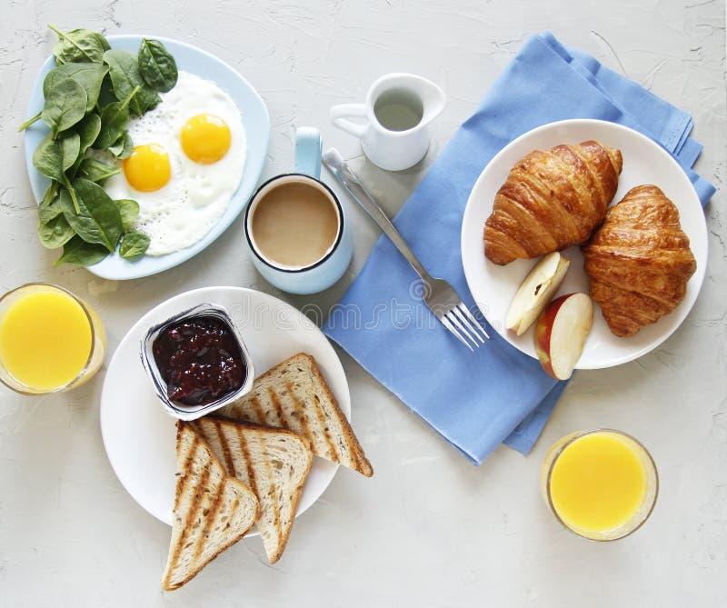 早餐顶视图 r 免版税库存图片