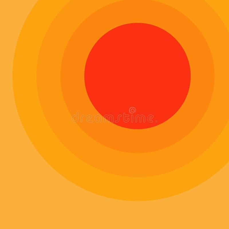 与橙色中心和三黄色口气层数的同心圆 多平实圆环在单色树荫下 ??? 库存例证