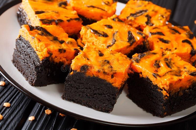 与橙色乳酪蛋糕特写镜头的原始的巧克力果仁巧克力蛋糕 免版税库存照片