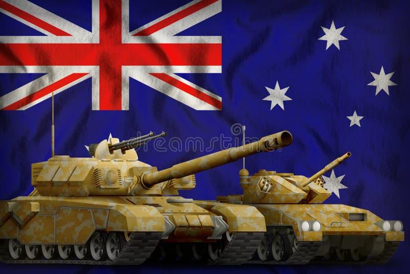 与橙色伪装的坦克在澳大利亚旗子背景 澳大利亚坦克力量概念 3d例证 库存例证