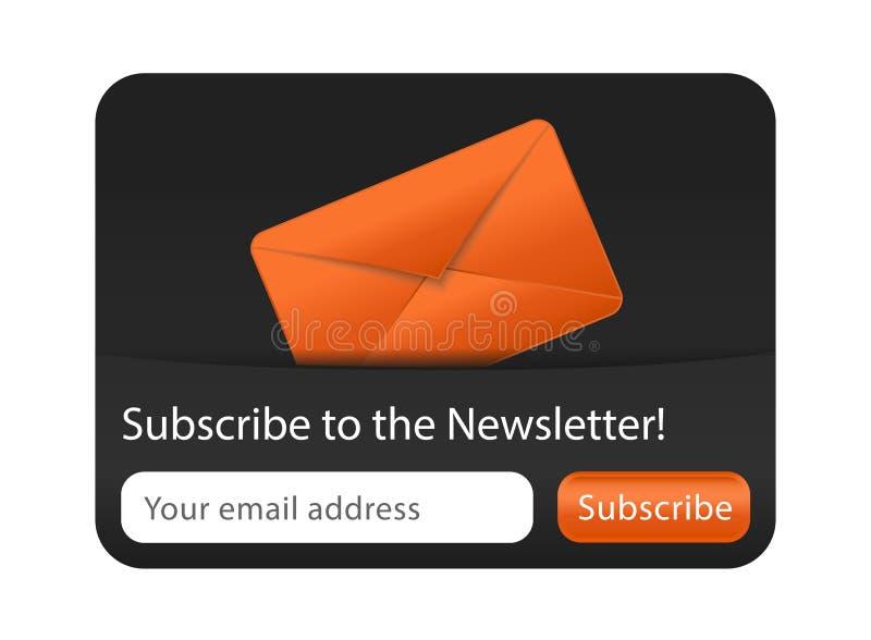 与橙色信包的简讯表单 免版税图库摄影