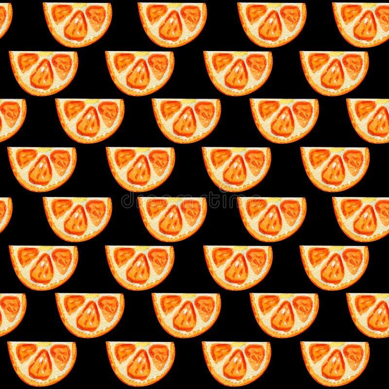 与橙色切片的无缝的样式 库存图片