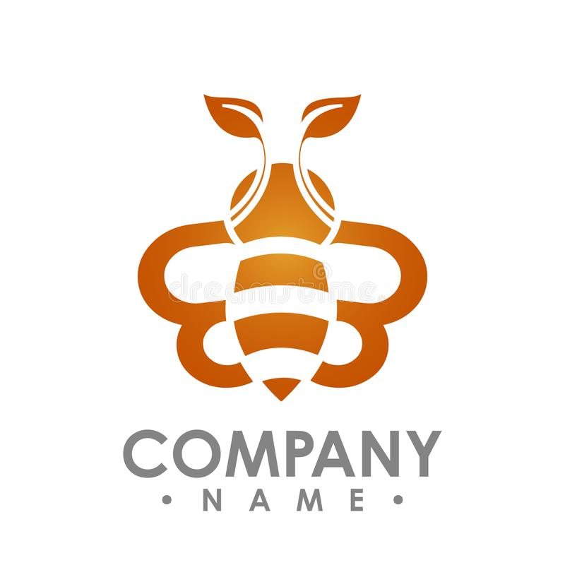 与橙色叶子翼传染媒介商标illus的商标抽象蜂飞行 向量例证