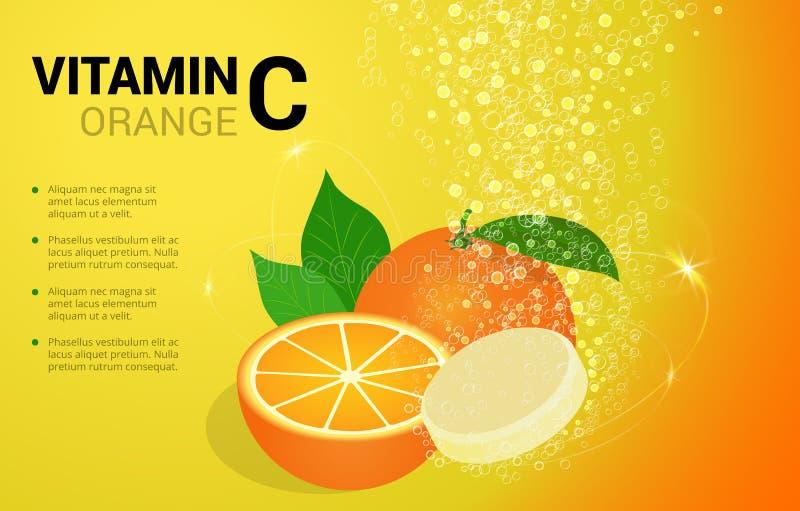 与橙色味道的维生素C橙色可溶解药片在与闪耀的泡沫腾涌的泡影的水中落后 抗坏血酸 皇族释放例证