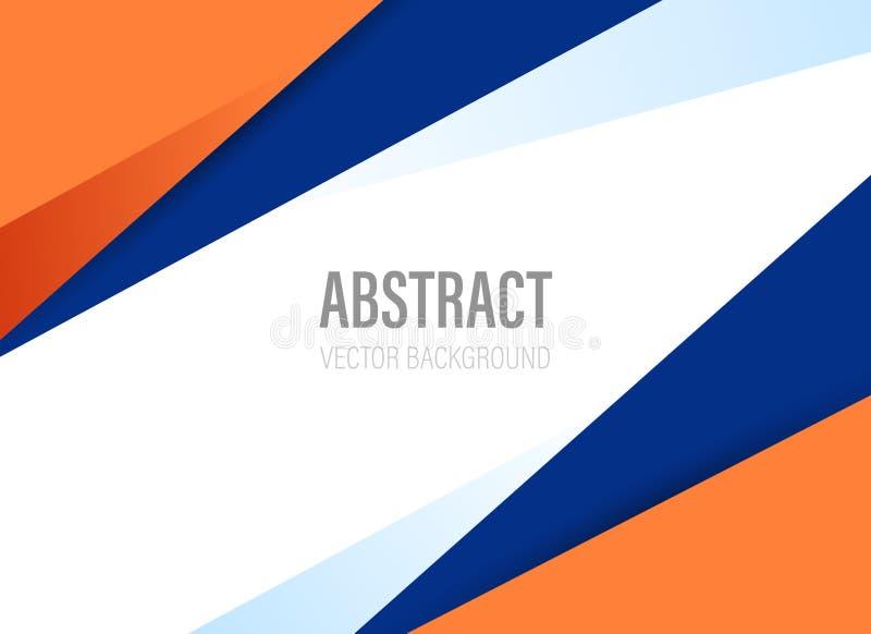与橙色和深蓝颜色的多角形几何抽象背景与现代样式形状-传染媒介 向量例证