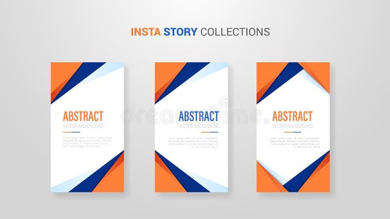与橙色和深蓝颜色的多角形几何抽象背景insta故事与现代样式形状的横幅模板的- 库存例证