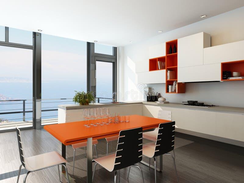 与橙色和白色家具的现代厨房内部 库存例证