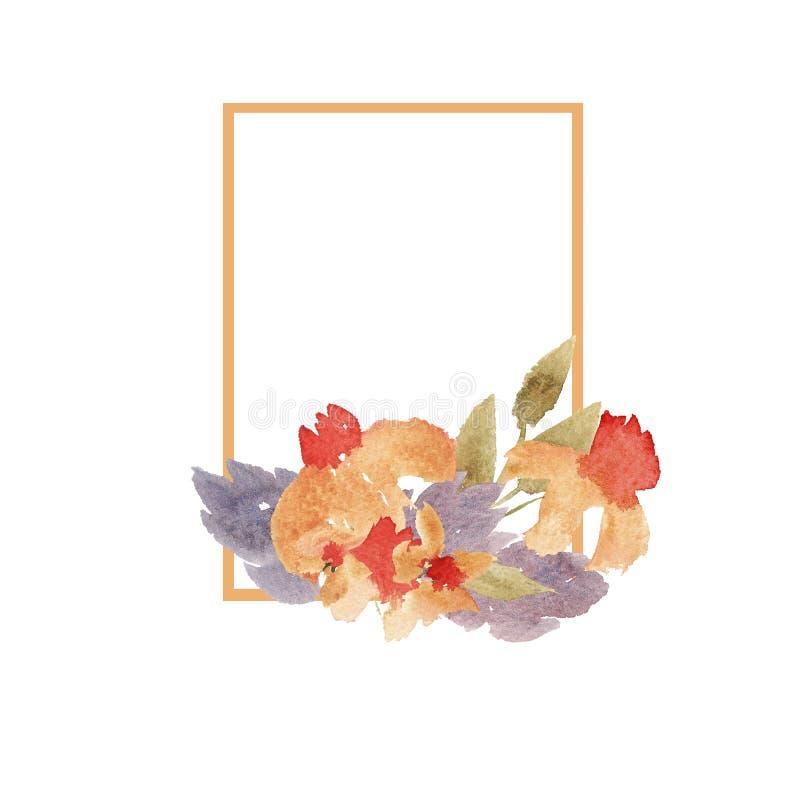 与橙色和紫罗兰色花的宽松水彩框架 库存例证
