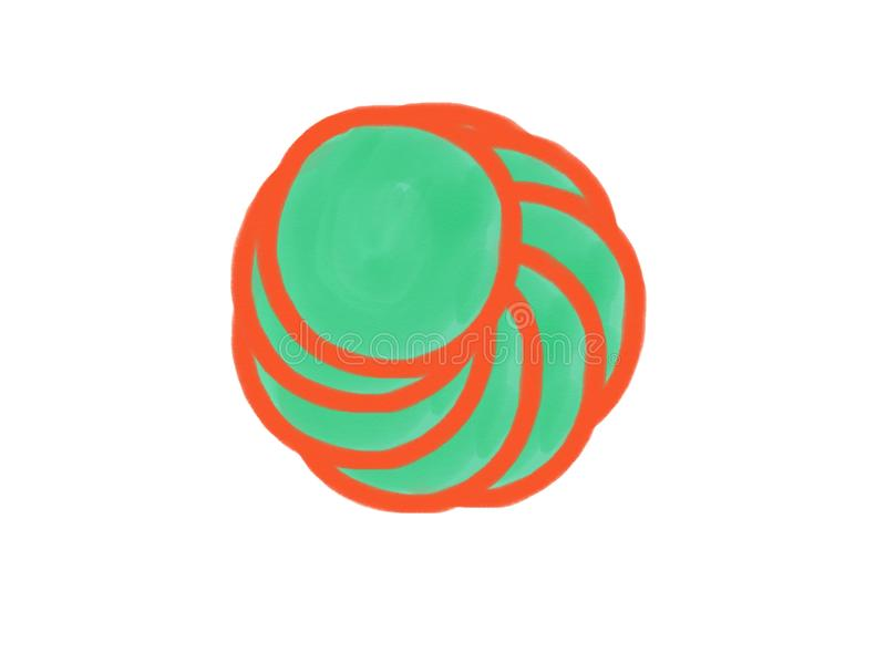 与橙色和绿色, illu色的树荫的软颜色葡萄酒淡色抽象水彩圈子商标背景孤立  库存图片