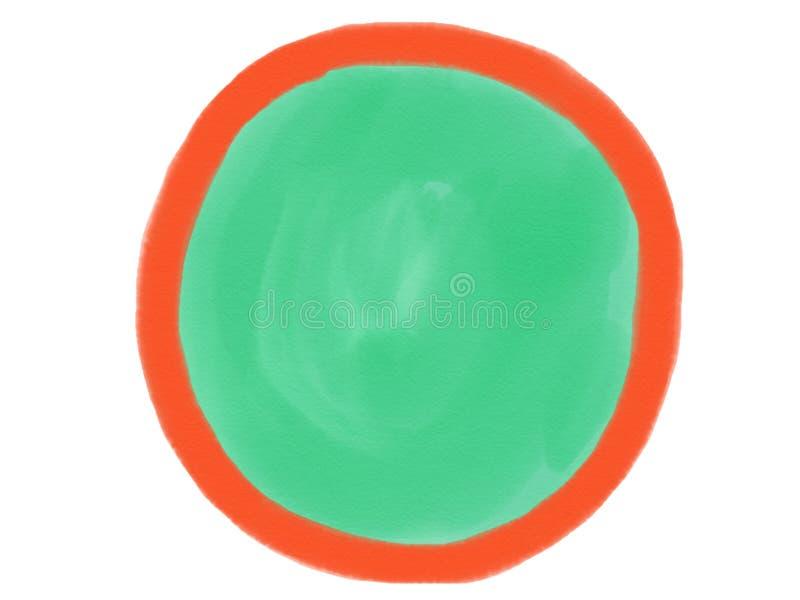 与橙色和绿色, illustratio色的树荫的软颜色葡萄酒淡色抽象水彩商标背景孤立  库存照片