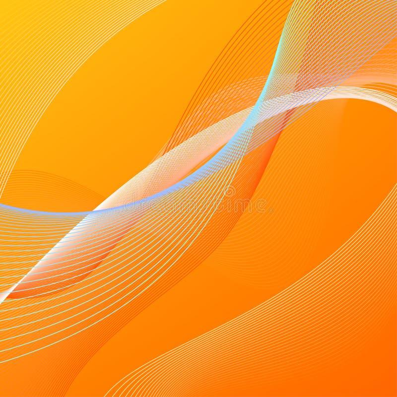 与橙色和蓝线的抽象背景 皇族释放例证