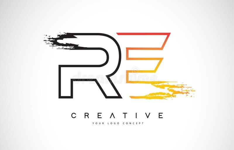与橙色和黑颜色的再创造性的现代商标设计 星期一 库存例证