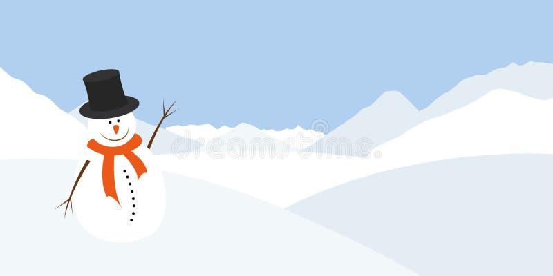 与橙色围巾的雪人在冬天风景挥动 皇族释放例证