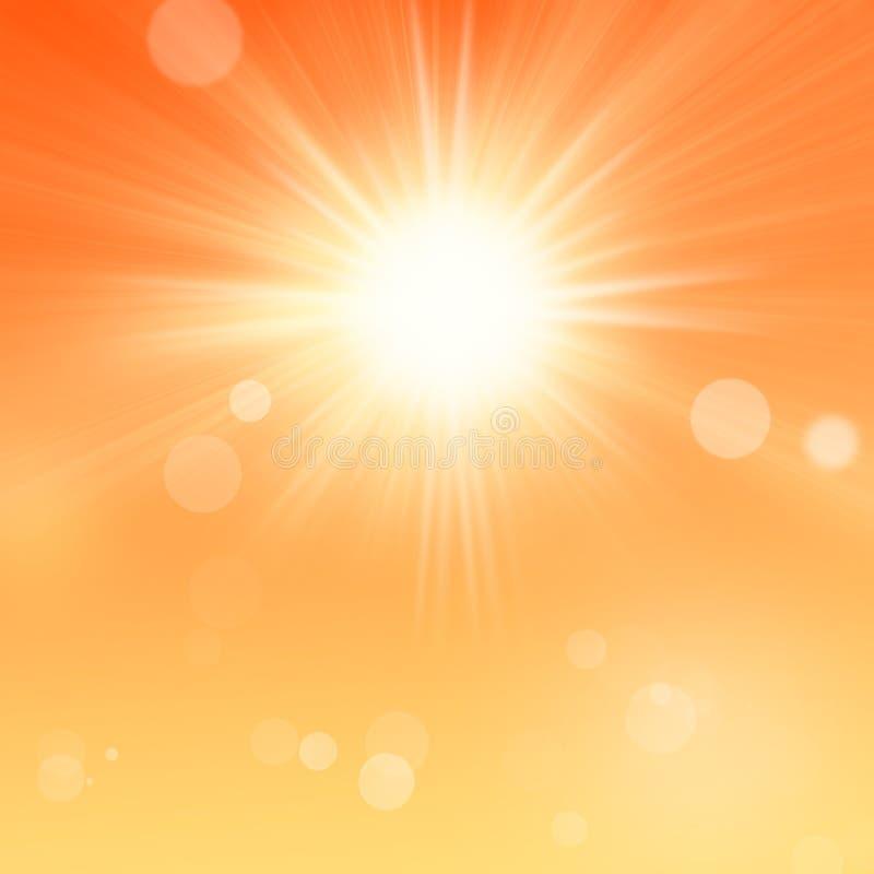 与橙色天空和太阳的晴朗的夏天背景 皇族释放例证