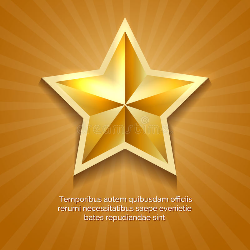 与橙色太阳的金黄星海报破裂了减速火箭的背景和消息传染媒介例证 皇族释放例证