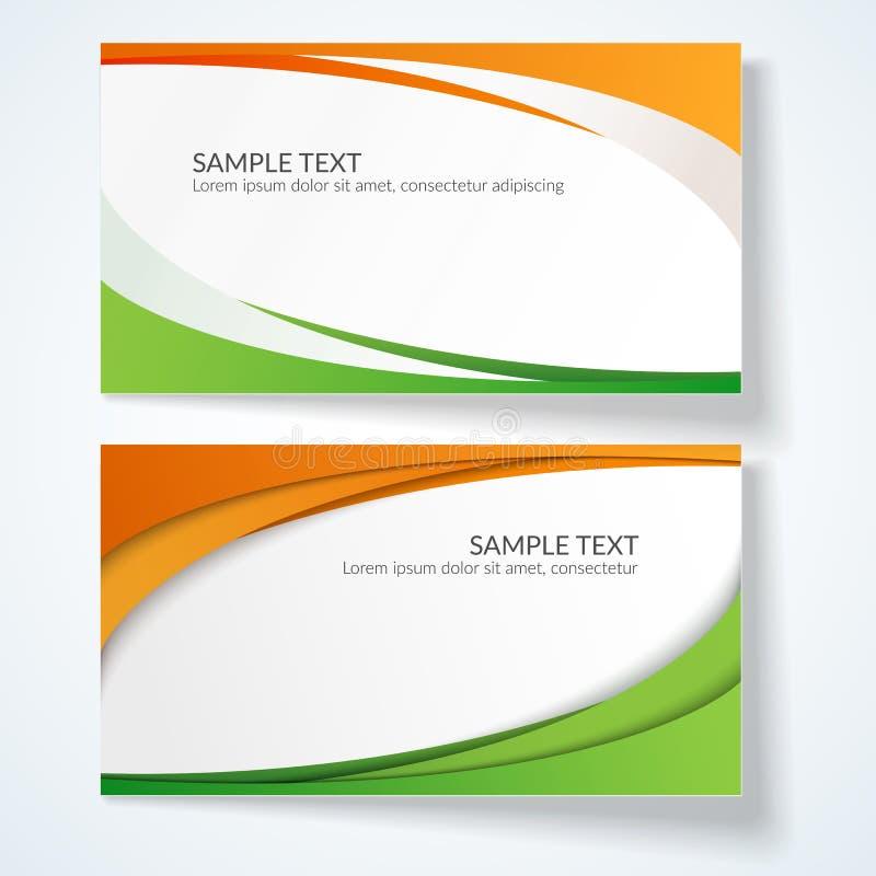 与橙色抽象波浪的线的卡片和绿色模板明信片广告设计的条纹创造性的元素  库存例证