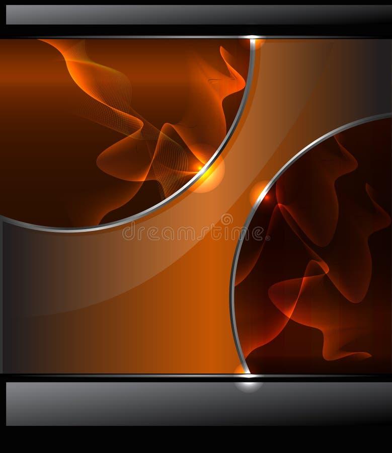 与橙色烟和光滑的b的抽象背景 皇族释放例证