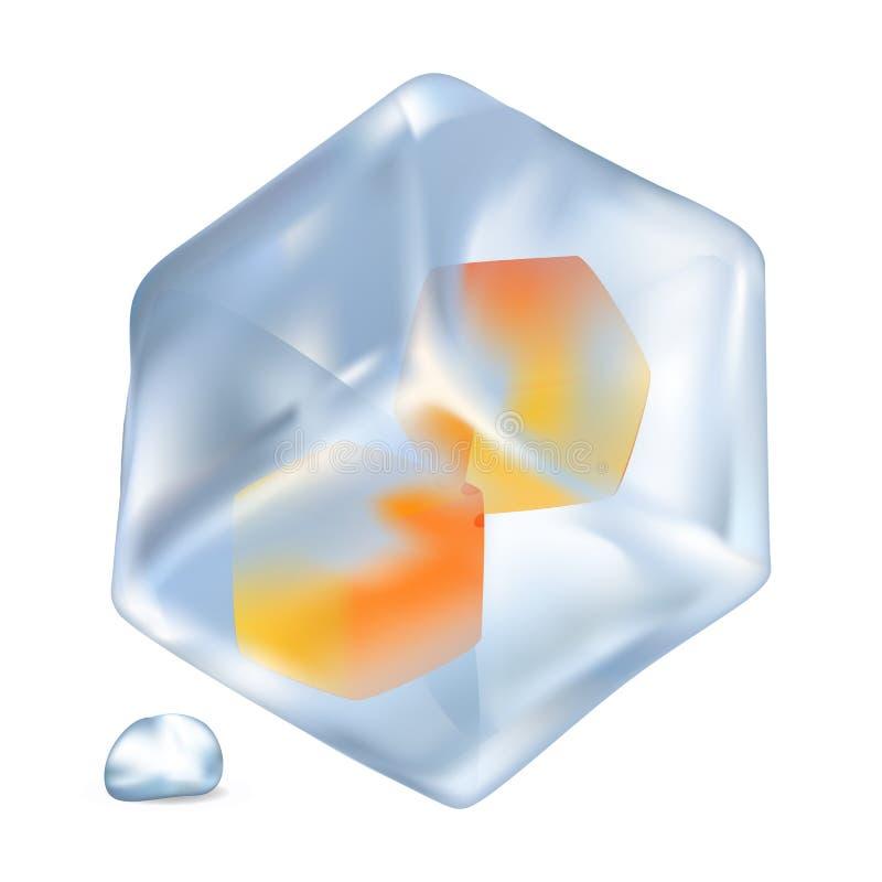 与橙色立方体里面被隔绝的例证的冰 皇族释放例证