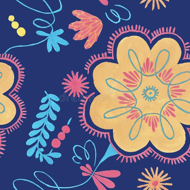 与橙色花装饰的波兰草本样式,与花卉例证的传统波兰民间无缝的样式 皇族释放例证