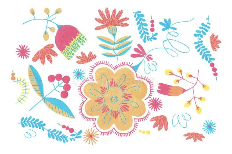 与橙色花装饰的波兰草本样式,与花卉例证的传统波兰民间无缝的样式 库存例证