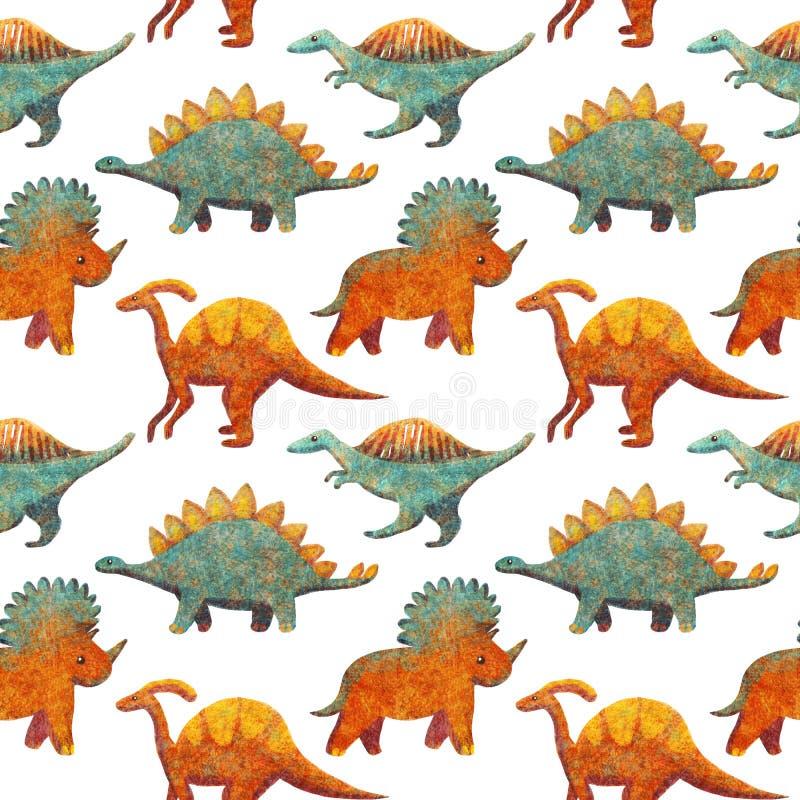 与橙色逗人喜爱的各种各样的恐龙的无缝的样式蓝色和 库存例证