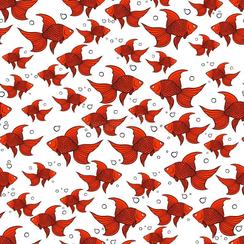 与橙色金鱼的无缝的样式 皇族释放例证