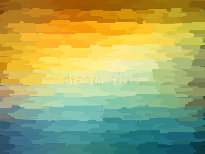 与橙色,蓝色和黄色颜色的抽象几何背景 夏天晴朗的设计 皇族释放例证