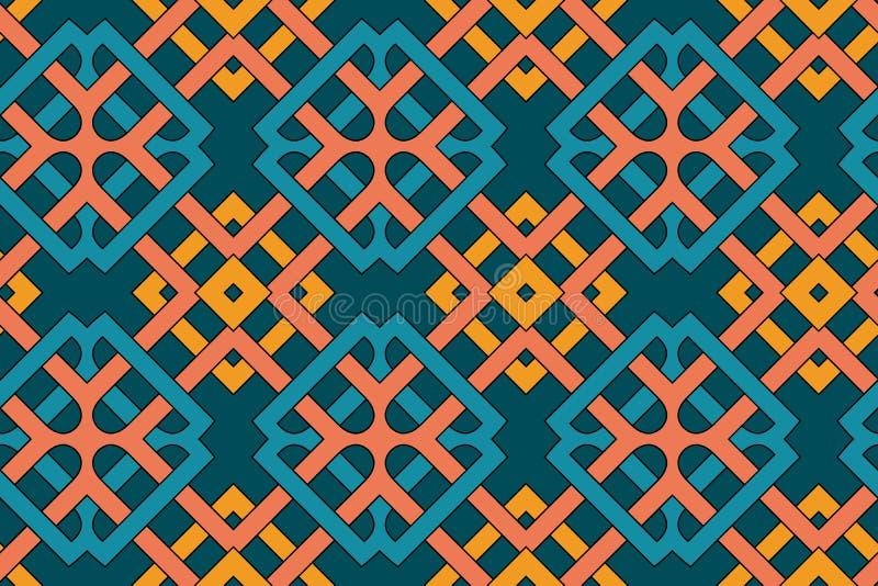 与橙色,黄色,蓝色和小野鸭树荫的凯尔特装饰品的几何无缝的样式 向量例证