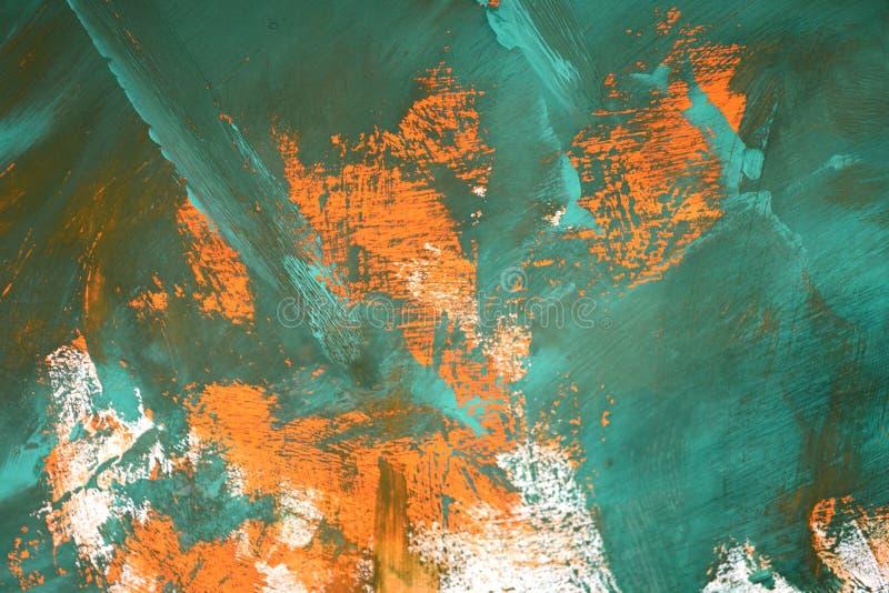 与橙色绿色白色污迹的抽象背景 免版税库存照片