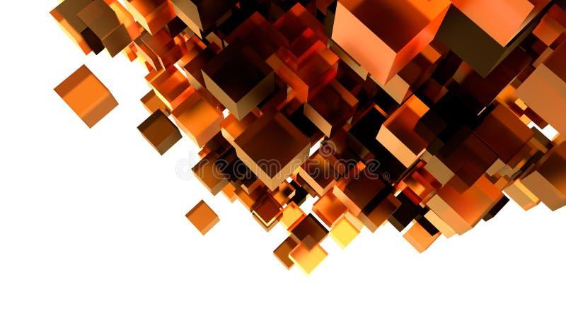与橙色3D立方体的抽象背景 皇族释放例证