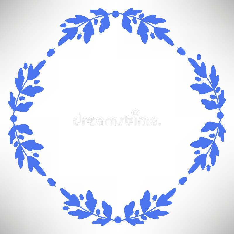 与橡子、分支和叶子的橡木圆的框架 皇族释放例证