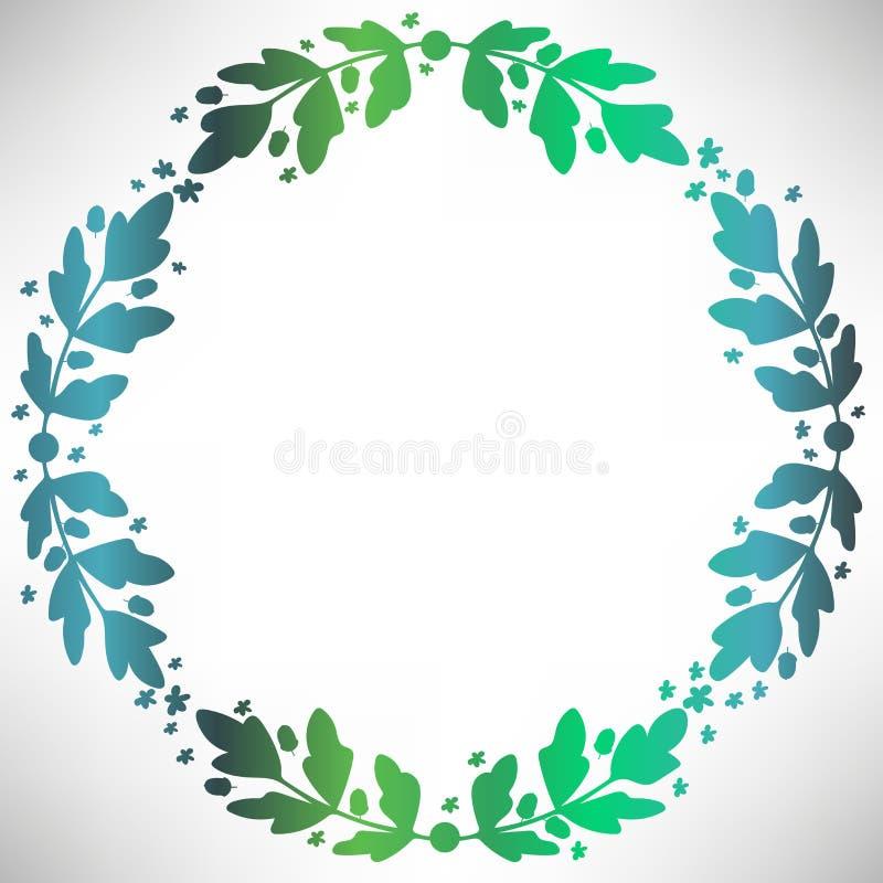 与橡子、花、分支和叶子的橡木圆的框架 皇族释放例证