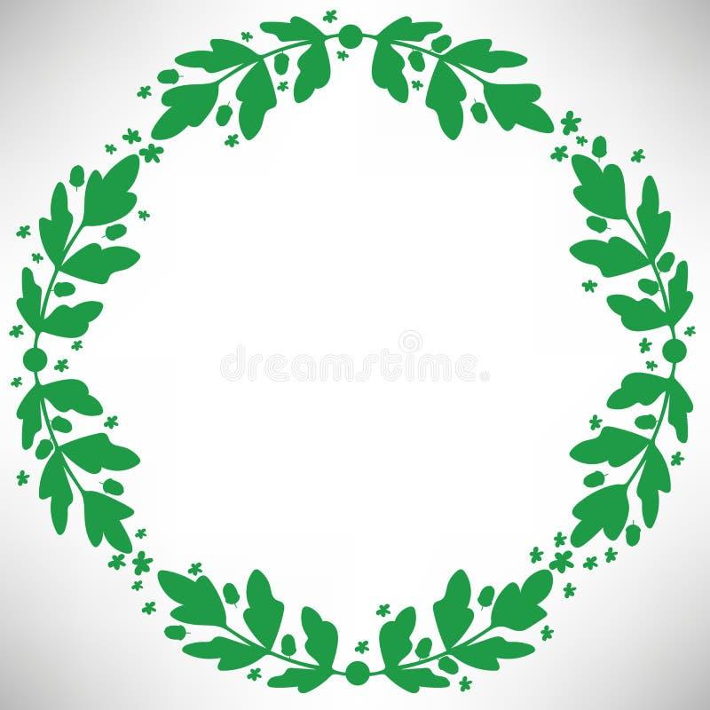 与橡子、花、分支和叶子的橡木圆的框架 库存例证