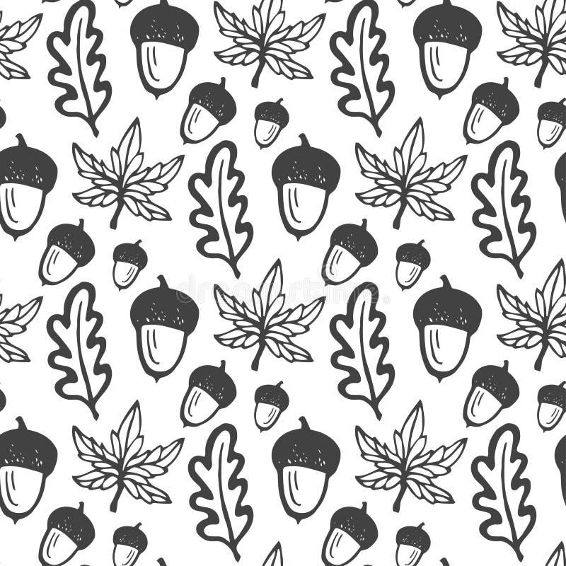 与橡子和槭树,橡木叶子的无缝的样式 织品的,纺织品手拉的传染媒介背景,包裹 库存例证
