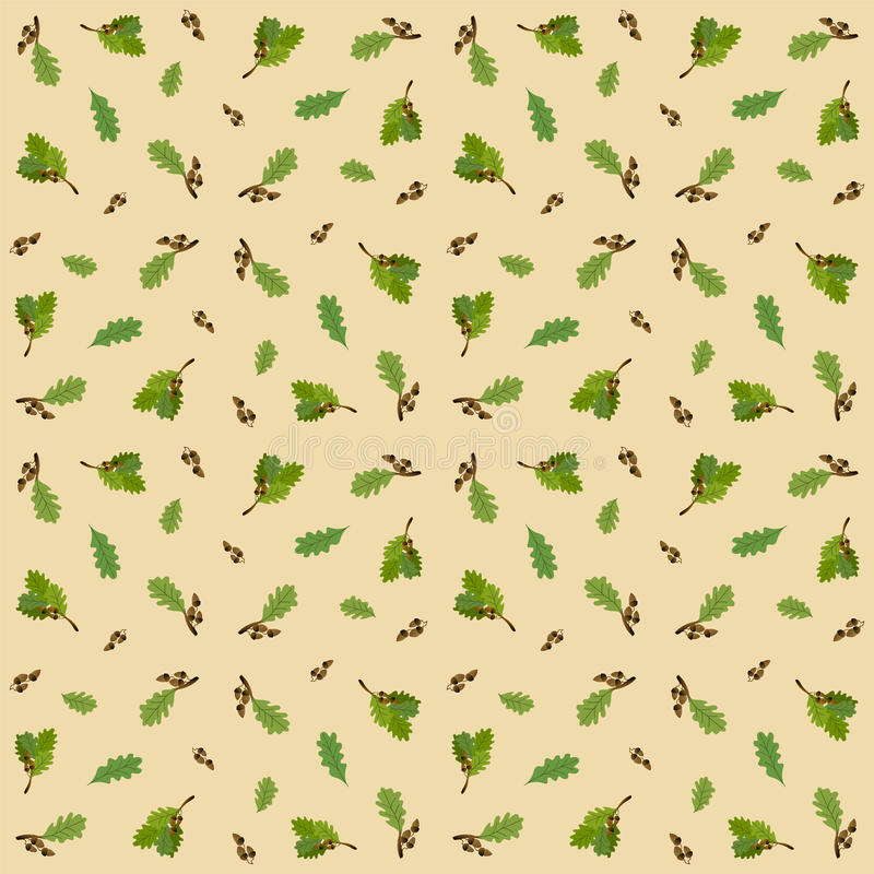 与橡子和橡木叶子的无缝的样式 库存例证