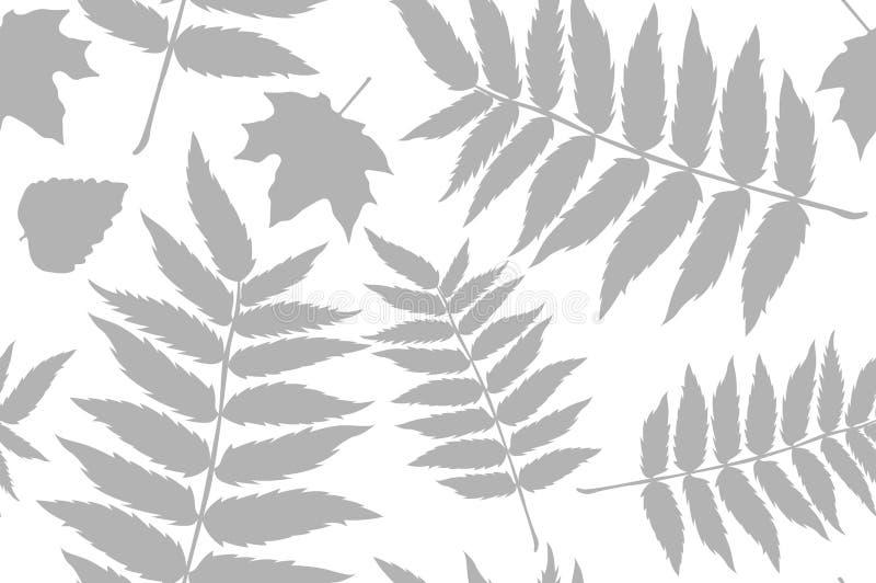 与橡子和秋天橡木叶子的无缝的样式在橙色,米黄,布朗和黄色 为墙纸,礼物纸,样式完善 向量例证